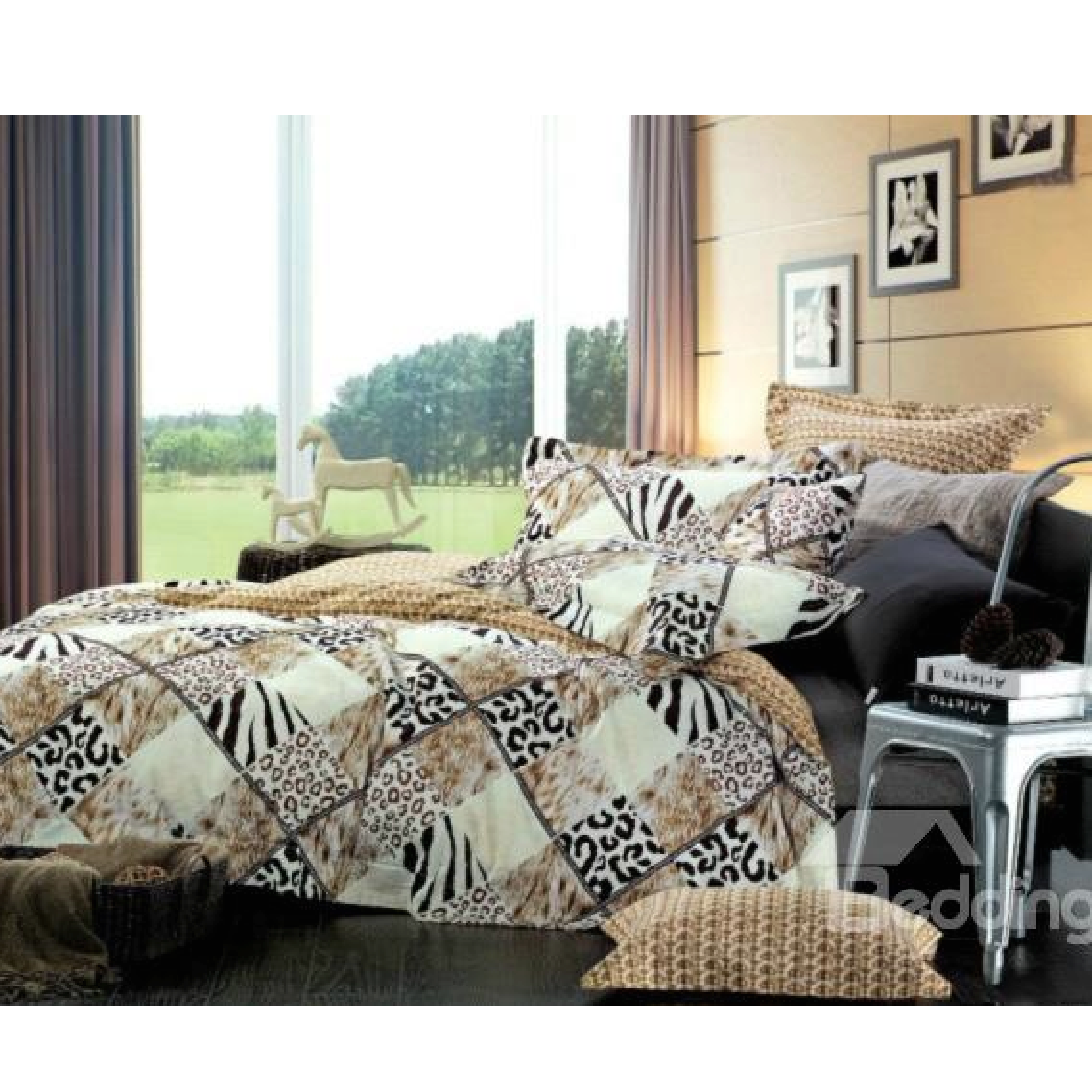 Leopard and Fur Print 4-Piece Cotton Duvet Cover Set