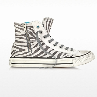 CONVERSE All Star High-top Zebra Animal Printed Canvas Zip Sneaker