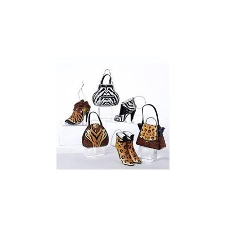 Pack of 12 Wild Animal Print Handbag and High Heeled Shoe Christmas Ornaments