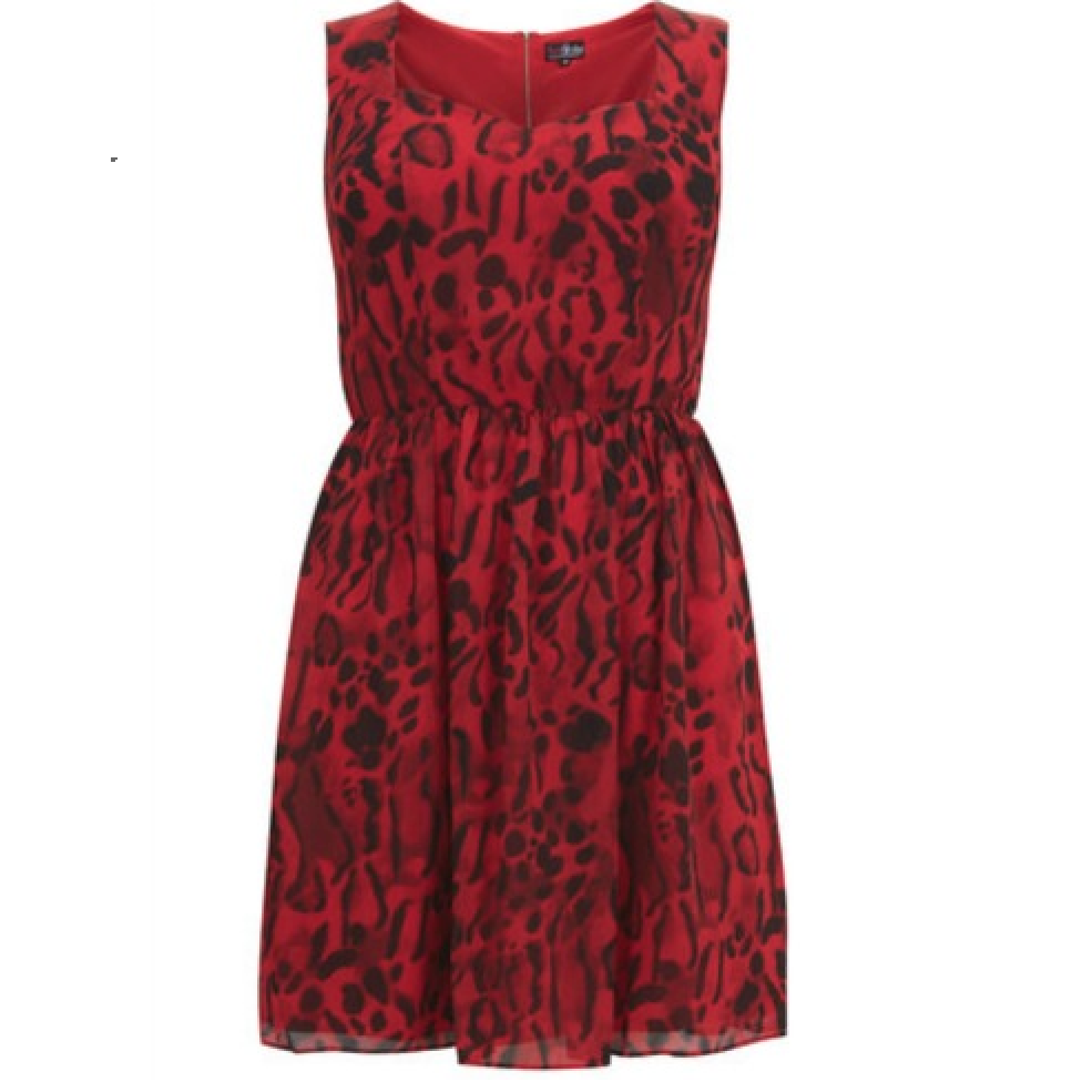 Lovedrobe Red Multi Leopard Animal Print Dress