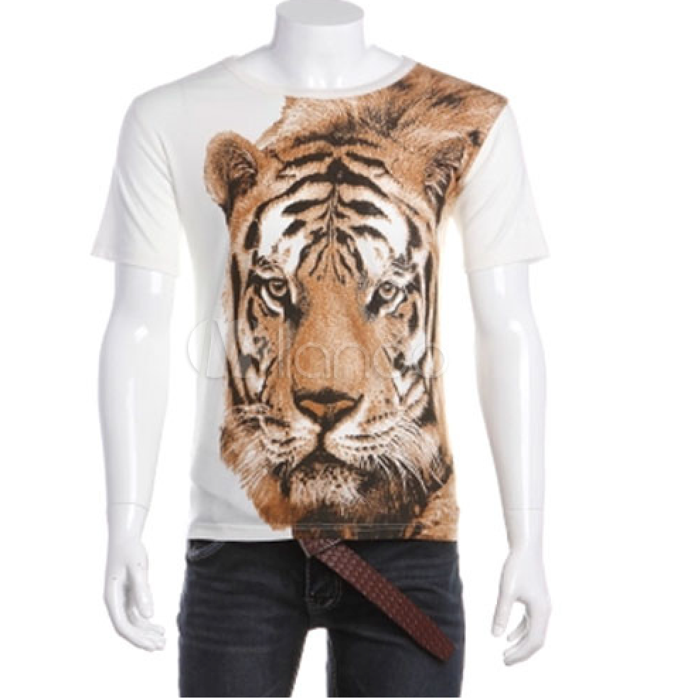 Smart Short Sleeves Crewneck Animal Print Cotton T-Shirt