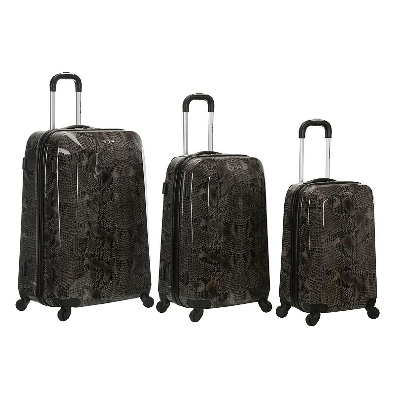 Rockland Luggage, 3-pc. Hardside Spinner Luggage Set Snake Animal Print