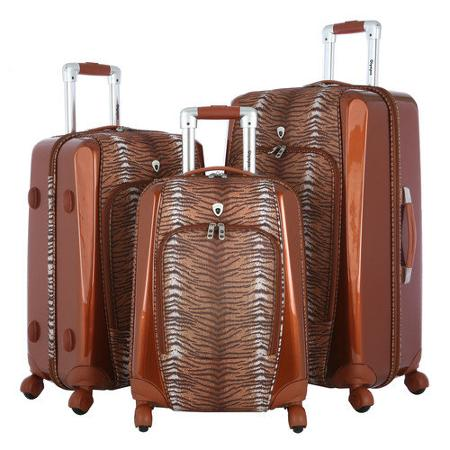 Tiger Print Olympia Mankato 3 Piece Luggage Set