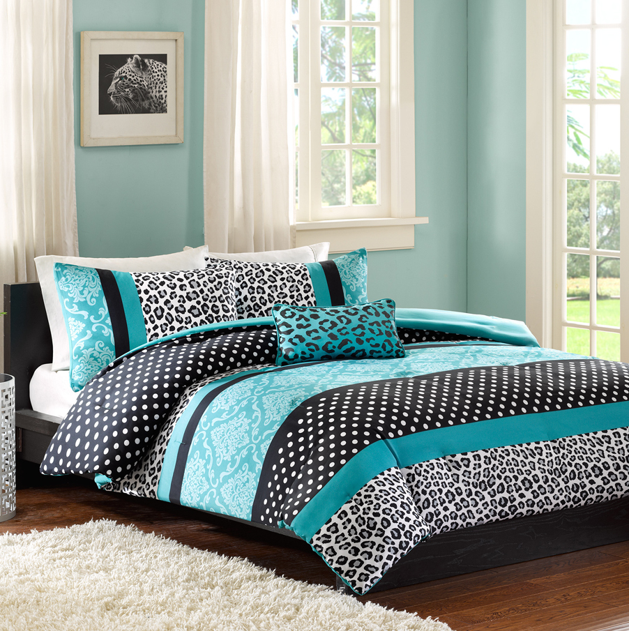 Black and White Leopard Teal Accent Bedding