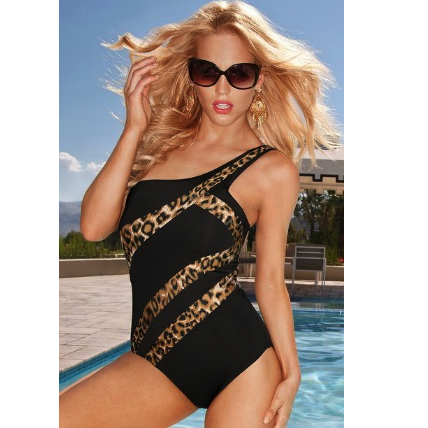 Kenneth Cole Leopard Animal One-Shoulder Maillot Swimsuit
