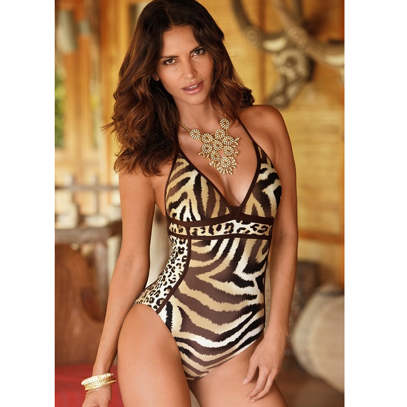 Sahara Animal Print Halter Maillot Swimsuit