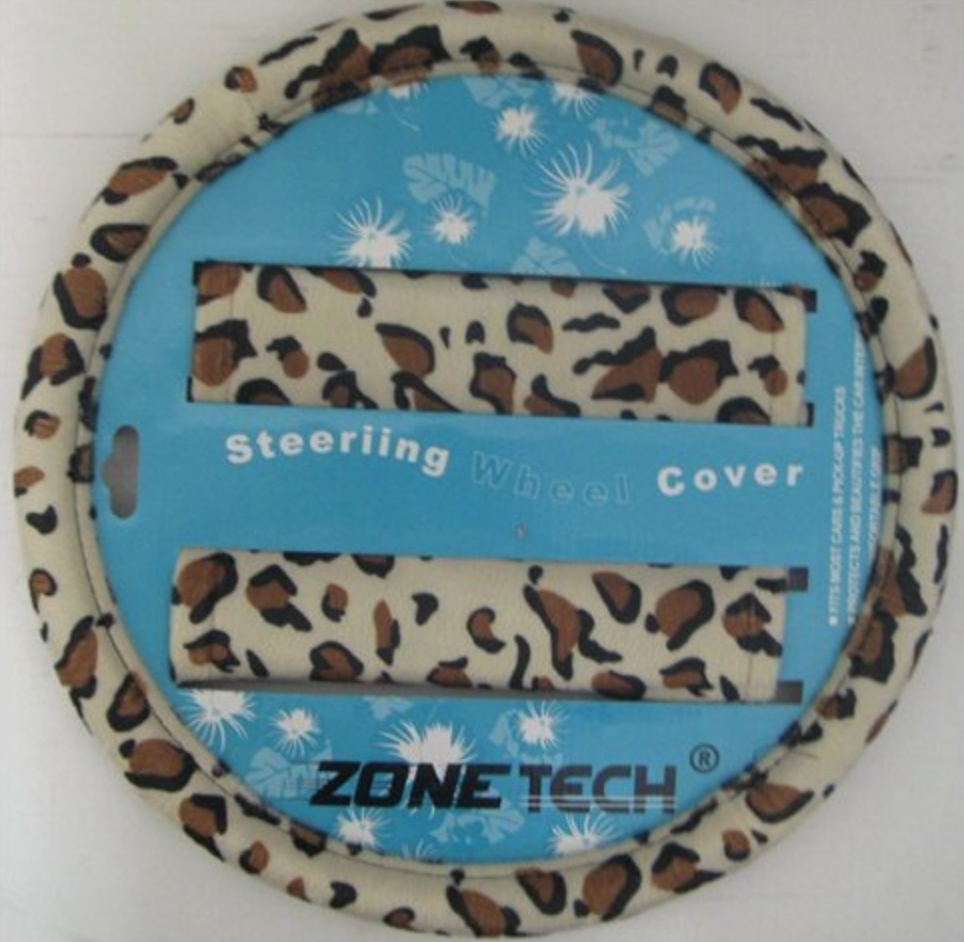 Animal Print Steering Wheel Cover and Shoulder Pad – Leopard
