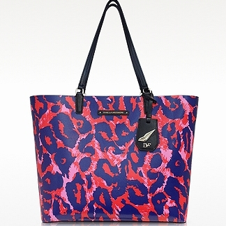 DIANE VON FURSTENBERG Leopard Animal Print Leather Tote