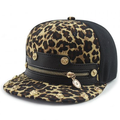 Chic Zipper Leopard Pattern Baseball Cap For Women