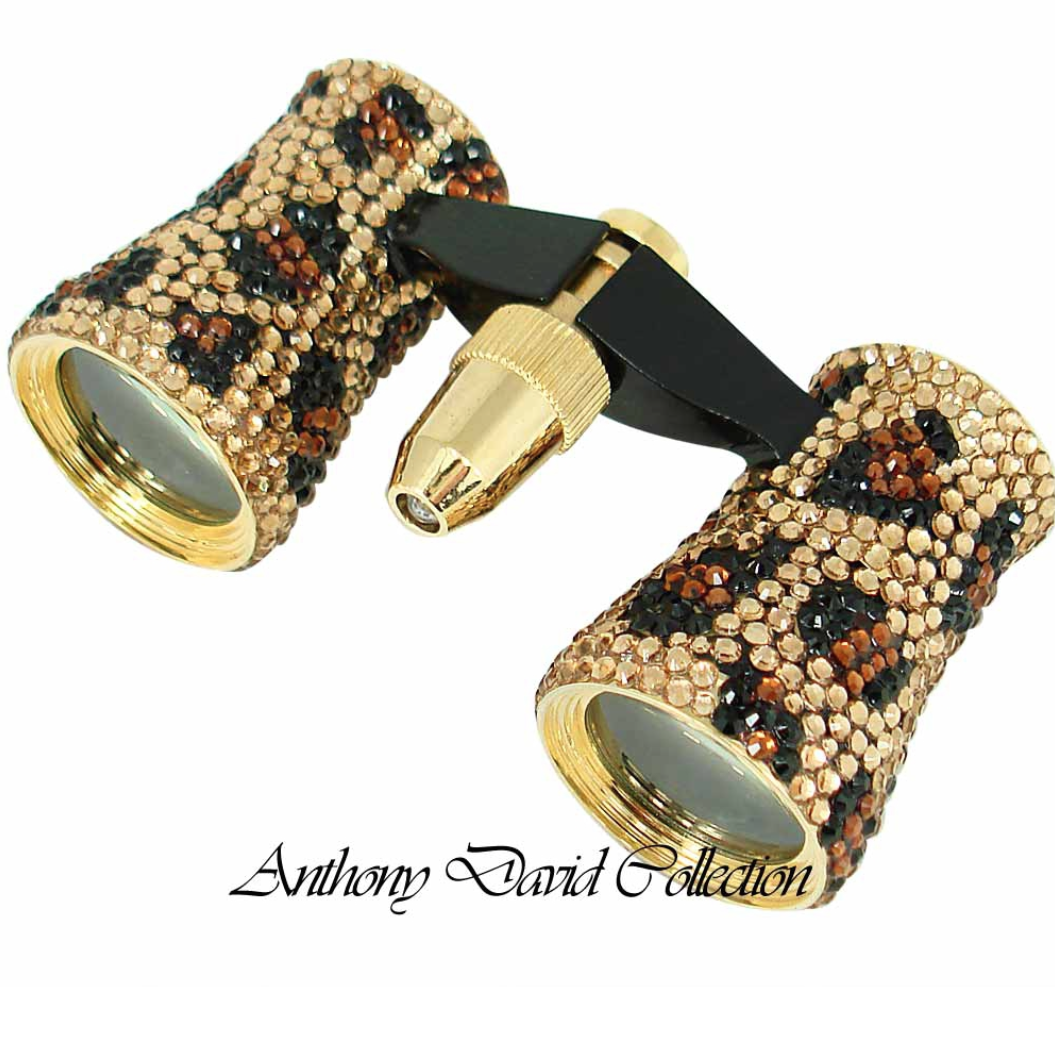 Anthony David Theater Binoculars with Swarovski Crystal – Leopard