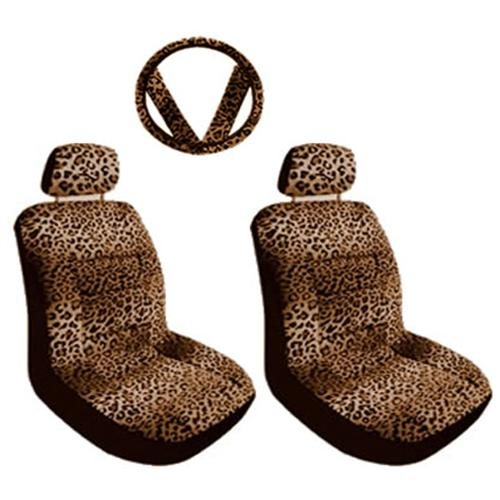 7PC Tan Leopard Animal Print Front Low Back Seat Covers & Steering Wheel Cover Set Universal