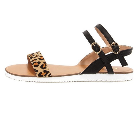 Restricted Easy Going Leopard Ankle Strap Sandals