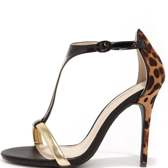 Got the Look Leopard T-Strap Dress Sandals