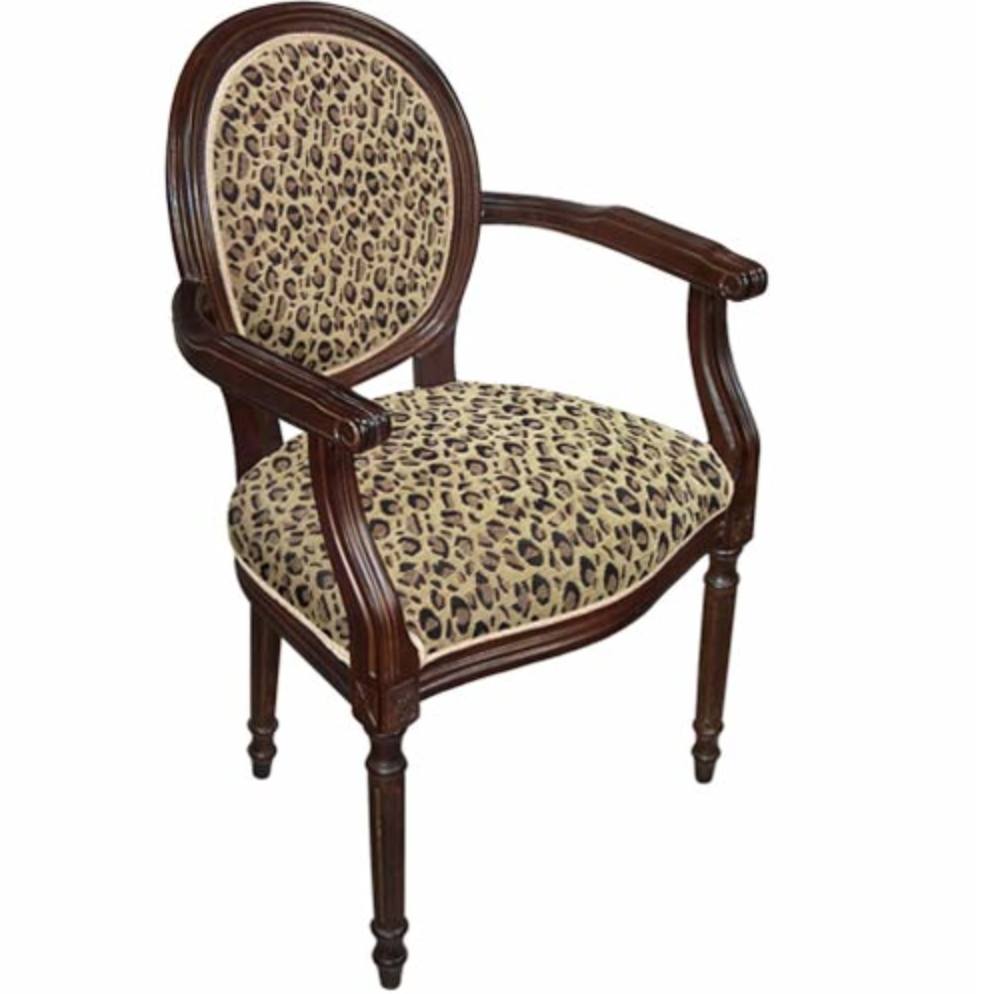 Leopard Fabric Upholstered French Armchair