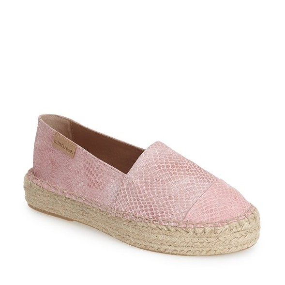 mint & rose Leather Pink Snake Creeper Espadrille (Women)