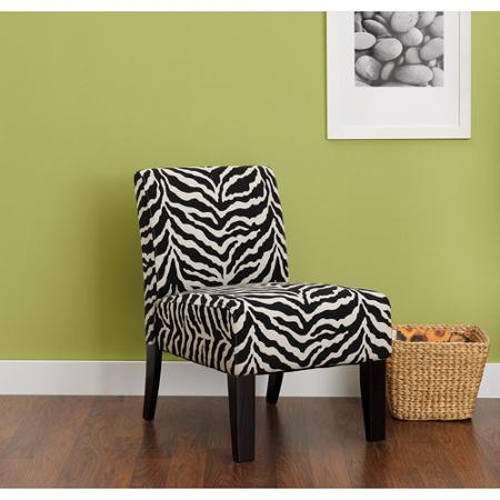 Armless Slipper Accent Chair, Zebra Print