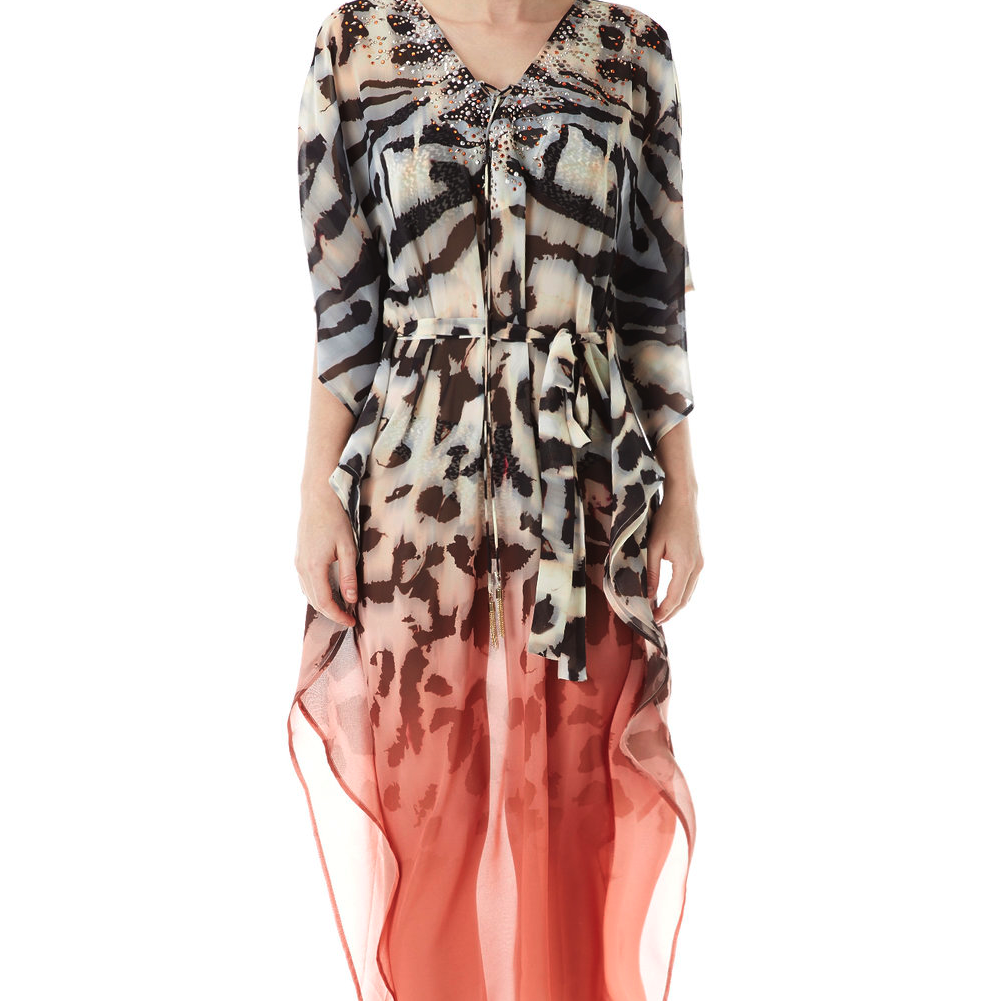 Ombre Zebra Animal Print  Kaftan Dress