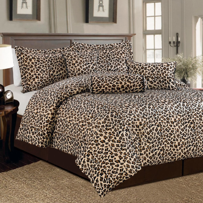 7 Pc Brown and Beige Leopard Print Faux Fur, King Size Comforter Bedding Set