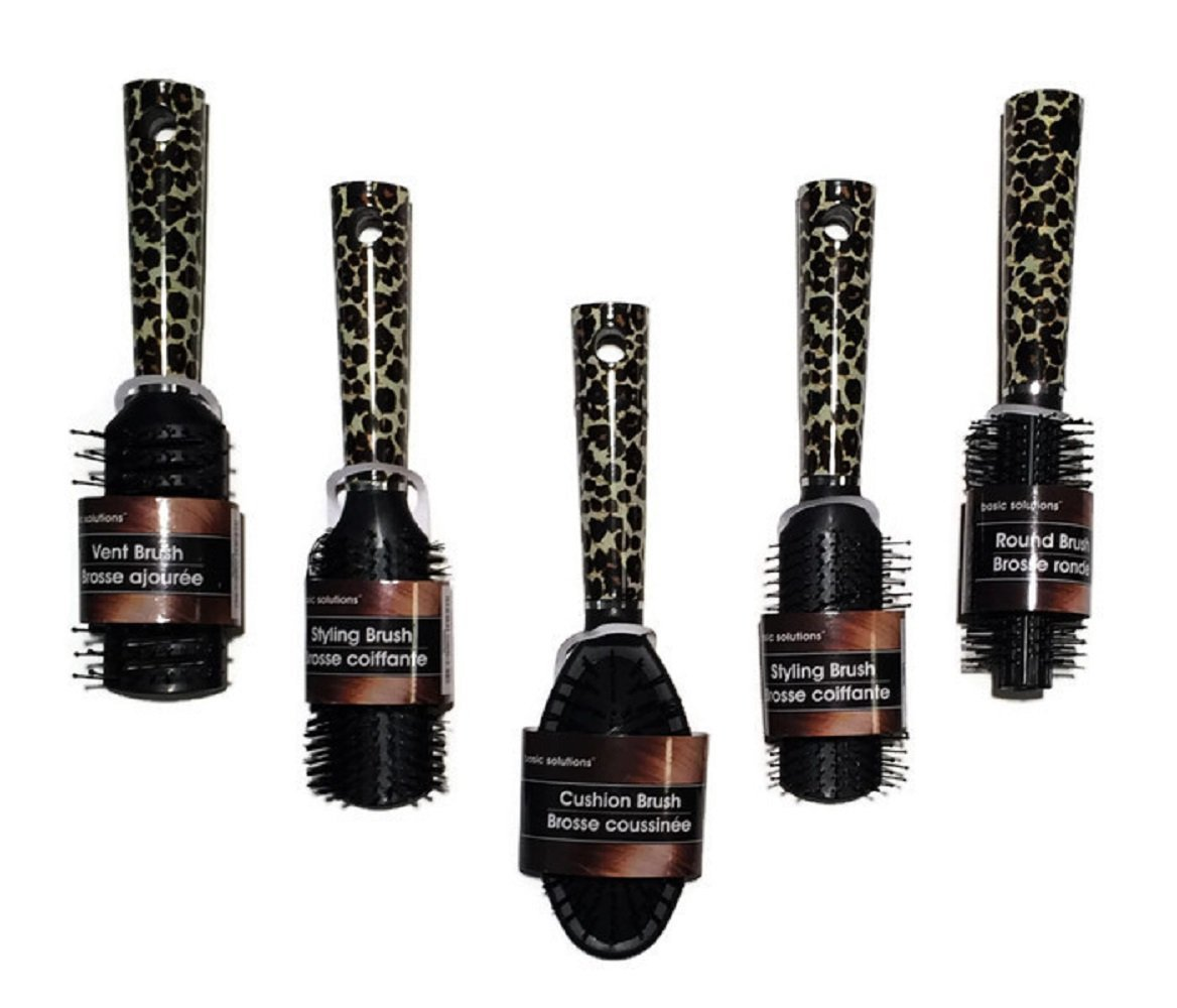 Leopard Print Hair Styling Brushes, 5-pc Set