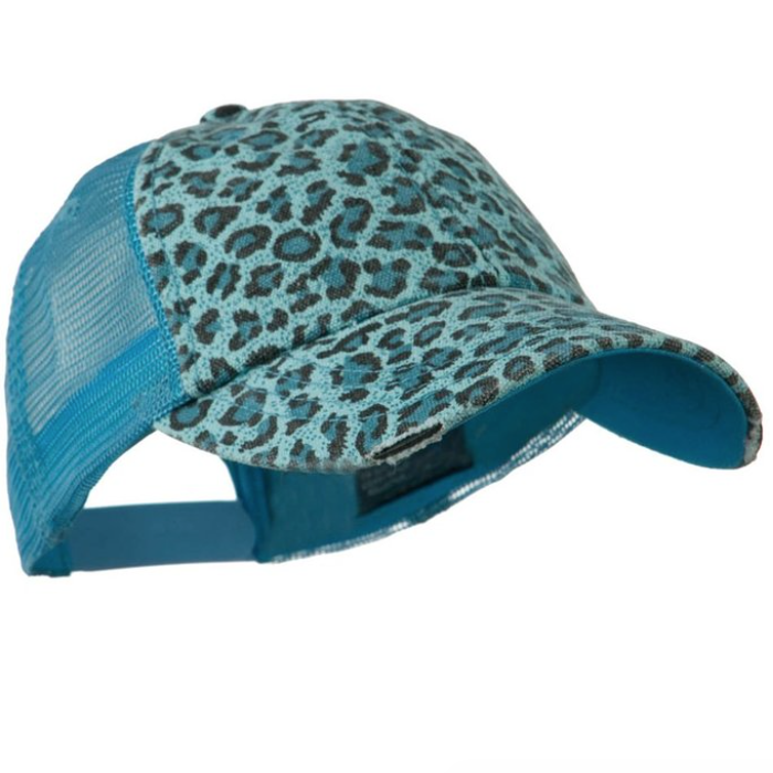 Ladies Leopard Print Mesh Canvas Baseball Cap