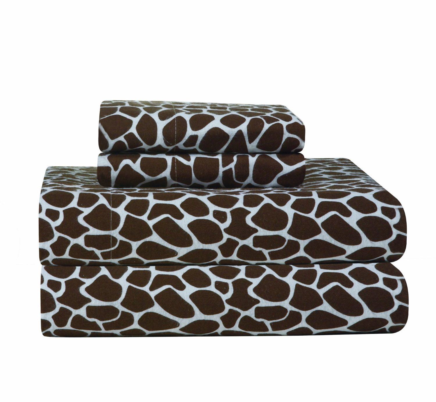 Pointehaven Giraffe Print Flannel Sheet Set, Chocolate