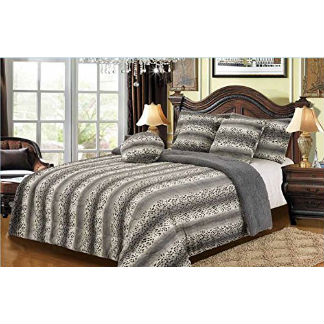 6PC Set King Gray Snow Leopard Faux Fur Bedding