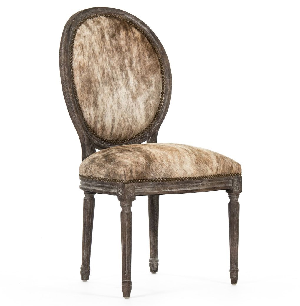 Madeleine French Country Oval Brindle Brown Hair on Hide Dining Chair