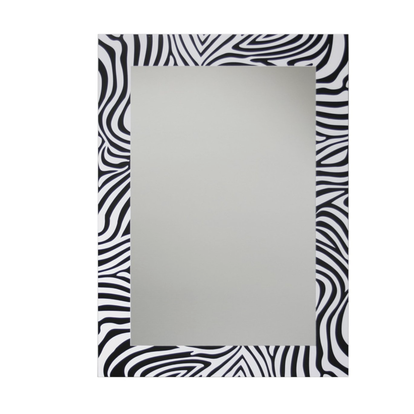 Zebra Decorative Wall Mirror, 20″ x 28″ Black/White
