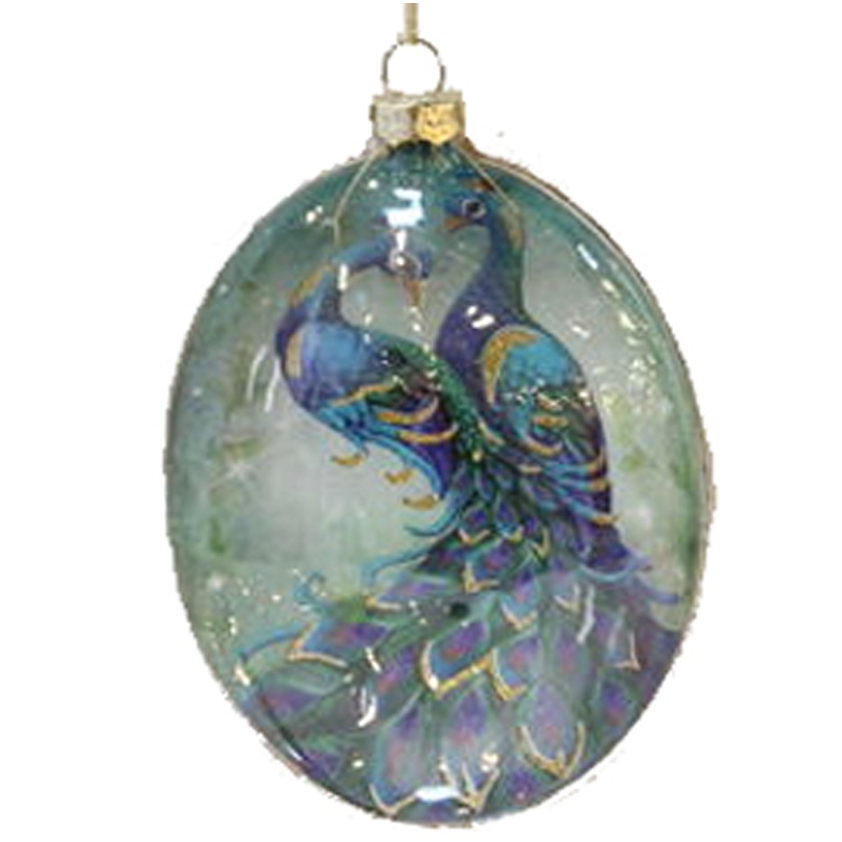 Glass Peacock Oval Ornament