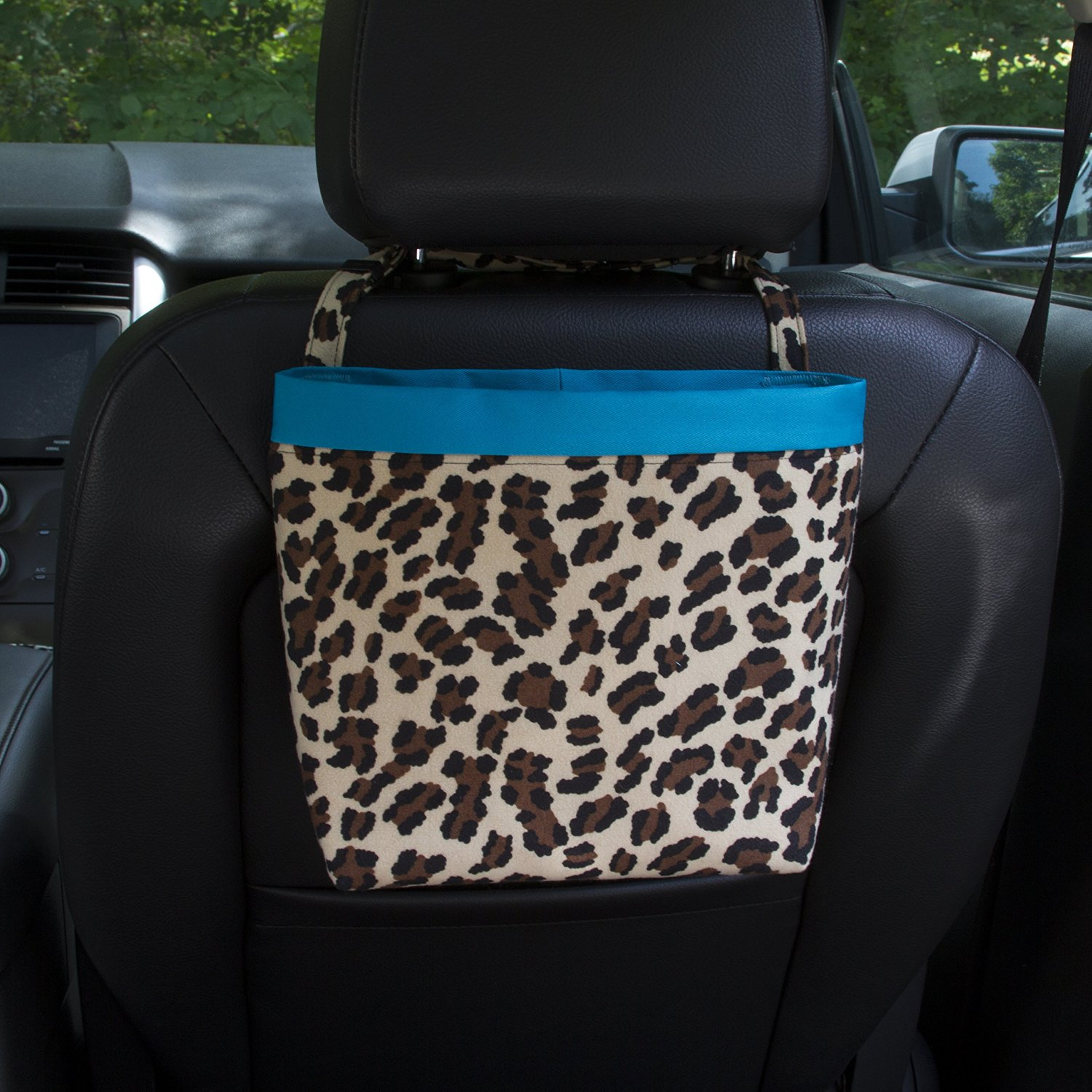 Headrest Car Caddy Leopard Wipeable Oilcloth Lining