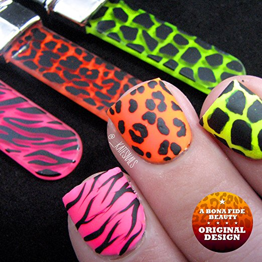 Glass Nail Files, Bona Fide Beauty Crystal Neon Animal Print