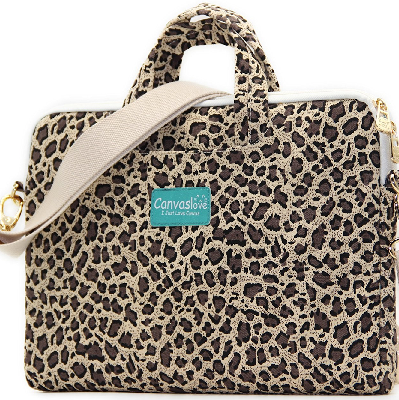 Canvaslove Yellow Leopard Patten Canvas Laptop Shoulder Messenger Bag