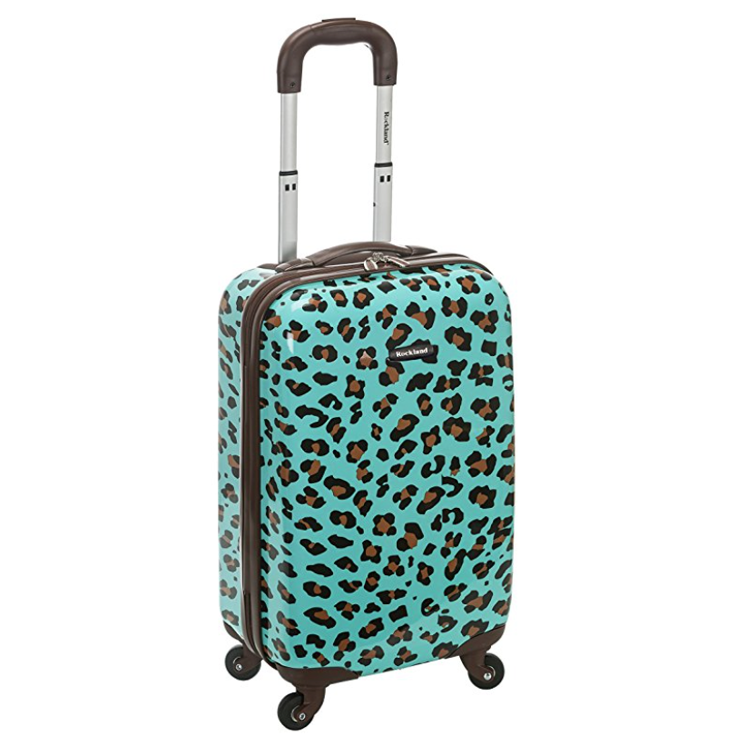 Rockland Luggage 20 Inch Carry On  Leopard Skin Turquoise