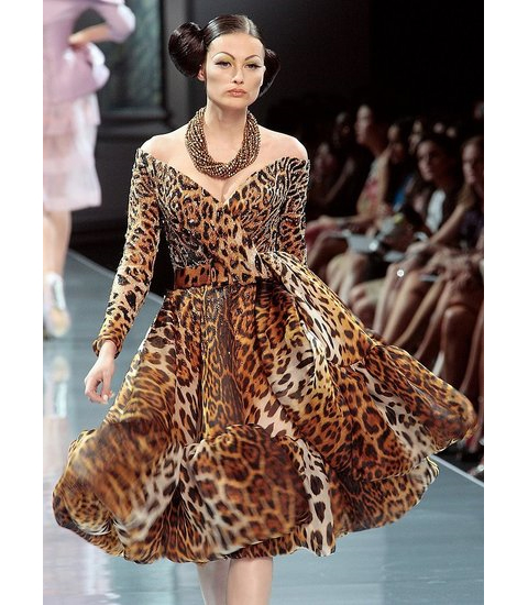 Christian Dior couture animal print cocktail dress